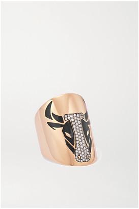 Diane Kordas 18-karat Rose Gold, Diamond And Enamel Ring - 8