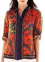 Nicole Miller nicole by Scarf Print Button-Front Top