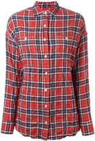 R 13 checked twisted back shirt