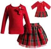 Dollie & Me Girls 4-14 Taffeta Top & Plaid Skirt Set