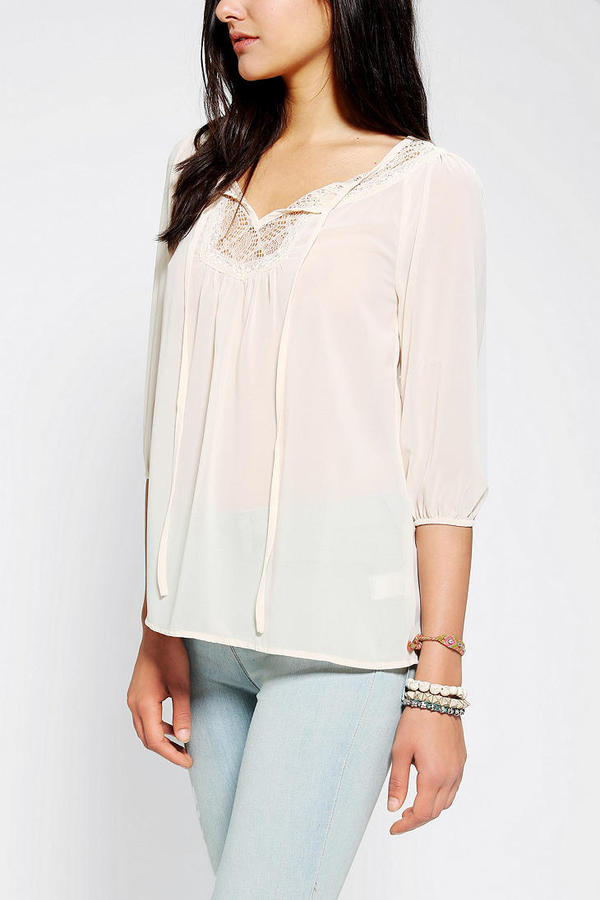 Urban Outfitters Pins And Needles Lace-Bib Tie-Neck Blouse