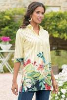 Soft Surroundings Striped Floral Tunic