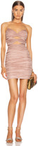 Rasario Draped Cutout Mini Dress in Pink Beige | FWRD