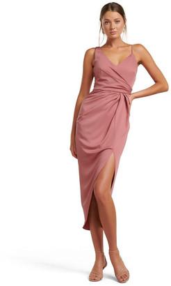Forever New Hallie Drape Satin Midi Dress