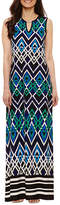 Tiana B Sleeveless Geometric Maxi Dress-Petites