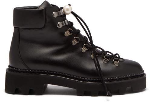 1b01883f279 Delfi Faux Pearl Toggle Leather Hiking Boots - Womens - Black