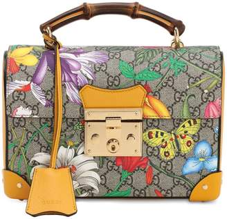 Gucci Flora Gg Supreme Top Handle Bamboo Bag