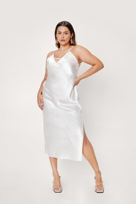 Nasty Gal Womens Rhythm of the Night Plus Midi Dress - White - 16