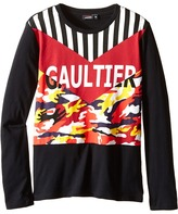 Junior Gaultier Gaultier Tee Shirt with Orange/Yellow Camouflage Boy's T Shirt