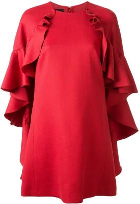 Giambattista Valli Ruffle Trim Cape Dress