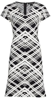 St. John Architectural Grid Jacquard Knit V-Neck A-Line Dress