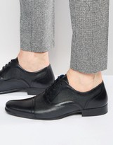Red Tape Etched Oxford Shoes In Black Leather