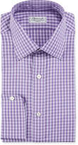 Charvet Men's Gingham Plaid Cotton Dress Shirt