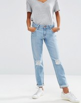 Asos Kimmi Shrunken Boyfriend Jeans in Esme Mid Stonewash Blue with Rips