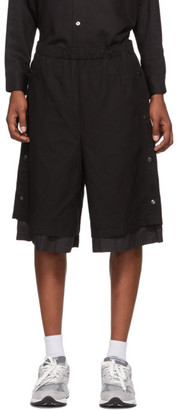 N.Hoolywood Black Double Layered Pressed Shorts