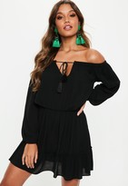 Missguided Tall Black Bardot Tassel Skater Dress