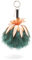 Fendi Pineapple leather and fur bag charm