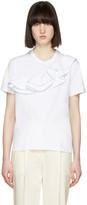 MSGM White Asymmetric Ruffle T-shirt