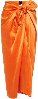 Marni Tie-detailed Cotton And Cupro-blend Satin Midi Skirt