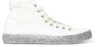 Saint Laurent Glittered Detail High Top Sneakers