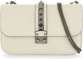 Valentino Ruthenium Rockstud grained leather medium shoulder bag