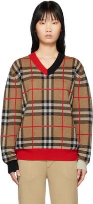 Burberry Beige Duggan V-Neck Sweater