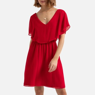 Naf Naf V-Neck Mini Dress with Short Sleeves