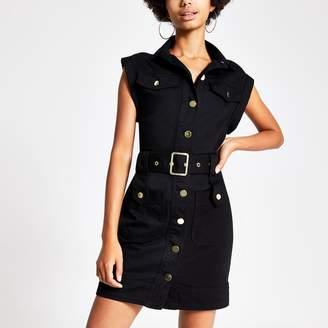 River Island Womens Black belted utility denim dress