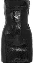 Saint Laurent Strapless Sequined Jersey Mini Dress - Black
