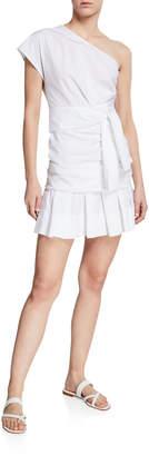 Derek Lam 10 Crosby One-Shoulder Gathered Cotton Short Dress