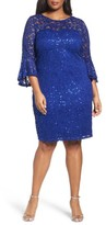 Marina Plus Size Women's Sequin Lace Bell Sleeve Dress