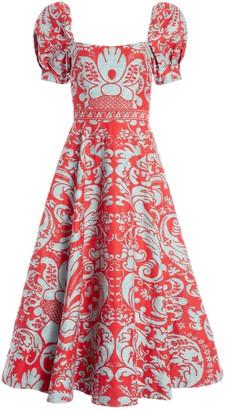 Alice + Olivia Fredia Puff Sleeve Midi Dress