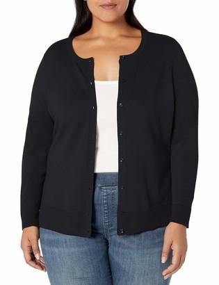 Amazon Essentials Plus Size Lightweight Crewneck Cardigan Sweater Burgundy 1X