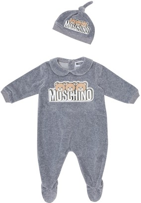 MOSCHINO BAMBINO Baby Velour onesie and hat set