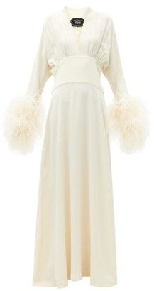 Taller Marmo Elvira Feather-cuff Crepe Maxi Dress - Ivory