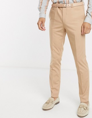 Viggo recycled polyester suit trousers in tan