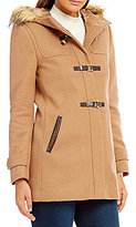 Cole Haan Signature Wool Twill Faux-Fur Trim Hood Duffel Coat