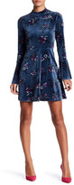 As U Wish Floral Bell Sleeve Velvet Dress