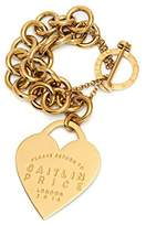 Maria Francesca Pepe Gold Plated Brass X Caitlin Price T-Bar Opening Heart Engraved Charm Double Chains Bracelet of Length 16.5cm