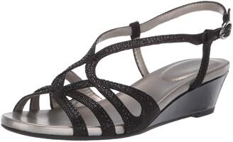 Bandolino Womens Gyala Wedge Sandal Black 9.5 M