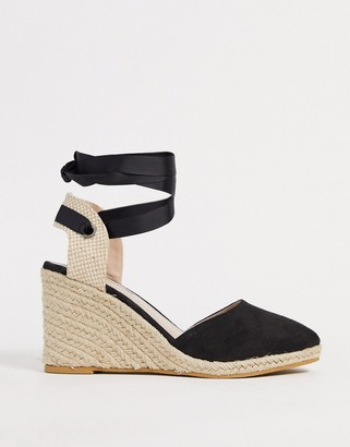 Miss Selfridge espadrille wedges with tie ankle in black