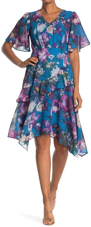 Gabby Skye Short Sleeve Mini Dot Floral Ruffle Dress