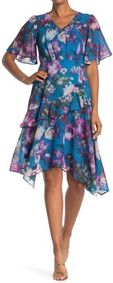 Gabby Skye Short Sleeve Mini Dot Floral Ruffle Dress