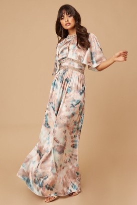 Little Mistress Mishka Agate-Print Pleated Maxi Dress