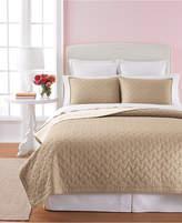 Martha Stewart Collection 100% Cotton Basket Stitch Tan King Quilt