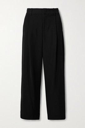 Vince Pleated Crepe Wide-leg Pants - Black