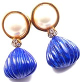 Christian Dior 18K Yellow Gold with Diamond, Lapis Lazuli, Mabe Pearl Earrings