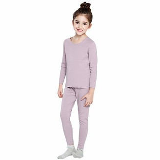 De feuilles Kids Thermal Underwear Set Base Layer Soft Long Sleeve Tops and Bottoms Green