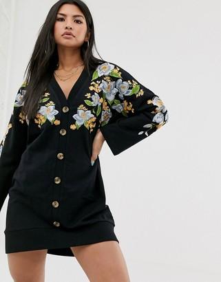 Asos Design DESIGN embroidered sweat button through mini dress-Black