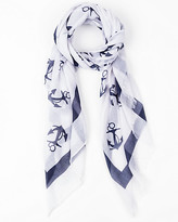 Le Château Anchor Print Voile Lightweight Scarf